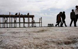 خشکی کامل دریاچه ارومیه در نتیجه