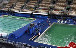 استخر المپیک پس از تغییر رنگ آب به سبز، تعطیل شد